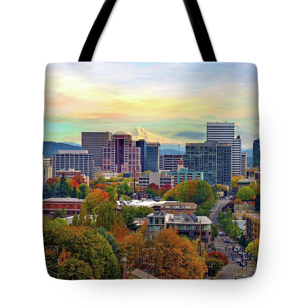 Viewpoint Tote Bag featuring the photograph Portland Oregon Downtown Cityscape In by David Gn Photography
