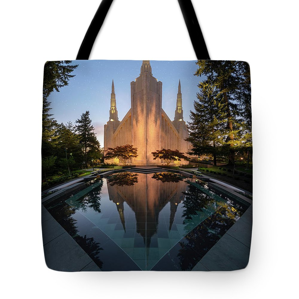 Latter Day Saints Tote Bag featuring the photograph Portland Temple Night by Dustin LeFevre