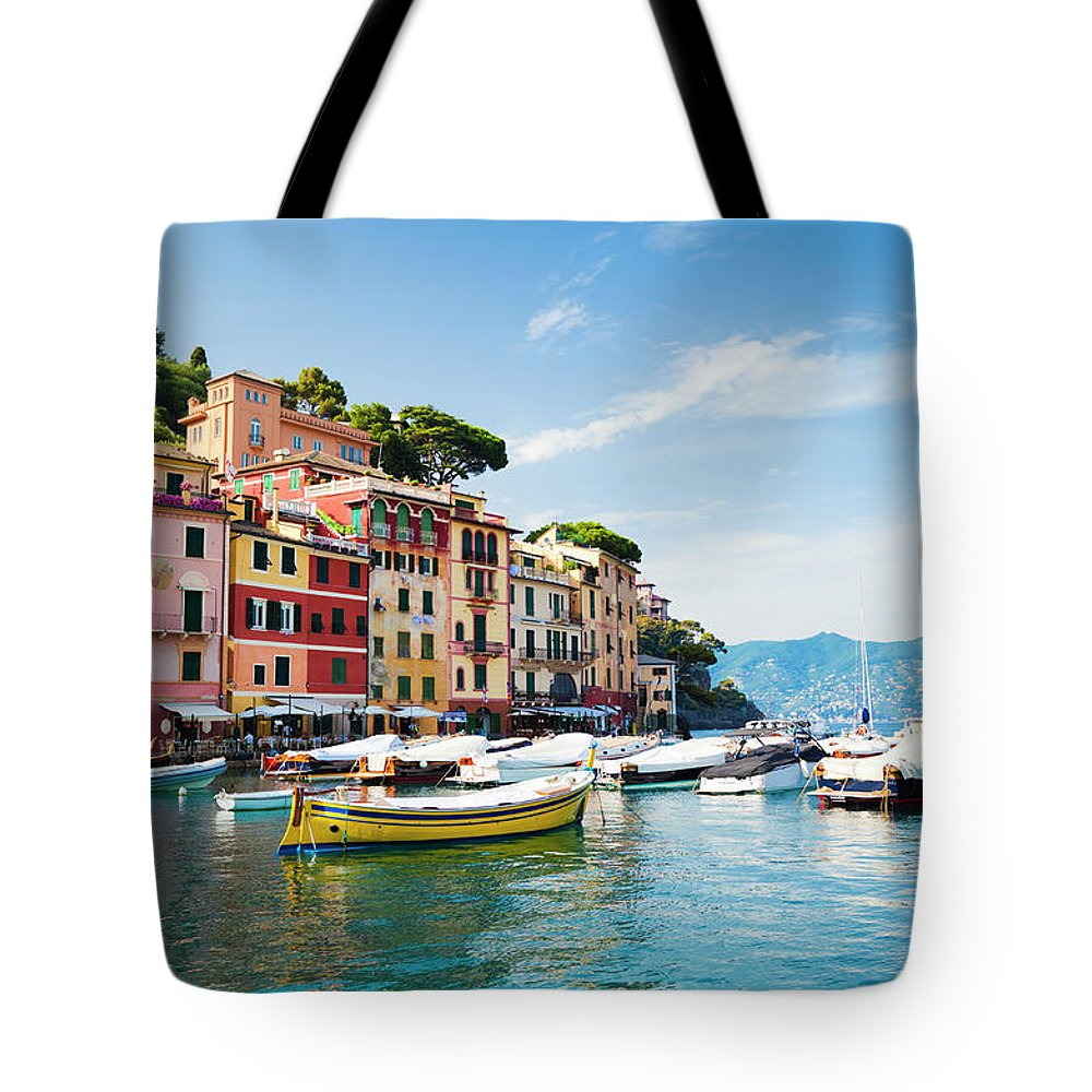 Water's Edge Tote Bag featuring the photograph Portofino, Liguria, Italy by Brzozowska