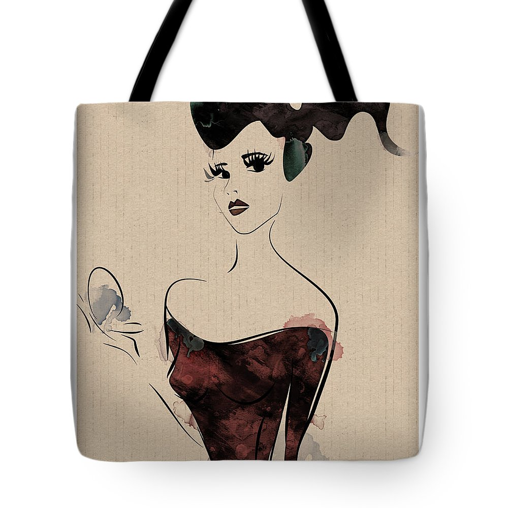 Woman Tote Bag featuring the digital art Portrait Of A Girl With Make Up Powder by Aleks