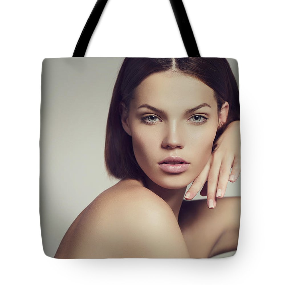 Cool Attitude Tote Bag featuring the photograph Portrait Of A Lovely Woman by Coffeeandmilk