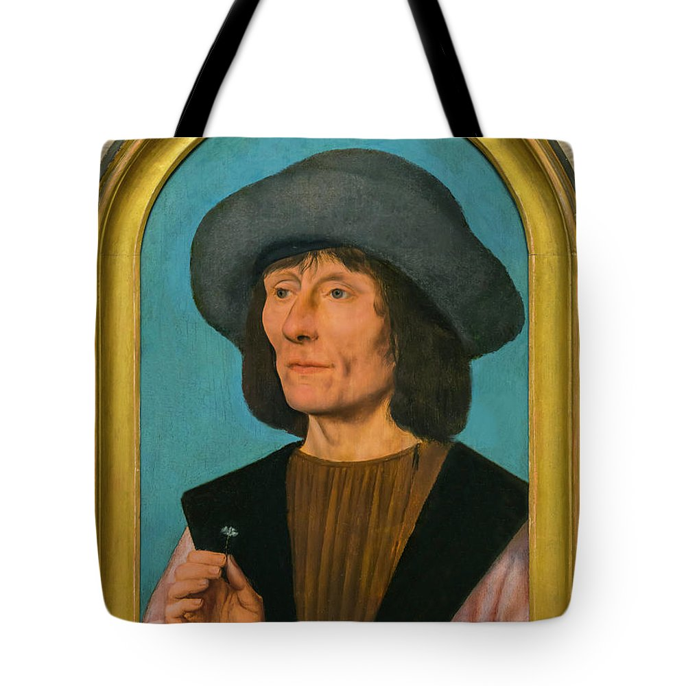 1500-1510 Tote Bag featuring the photograph Portrait Of A Man With A Pink by Peter Barritt