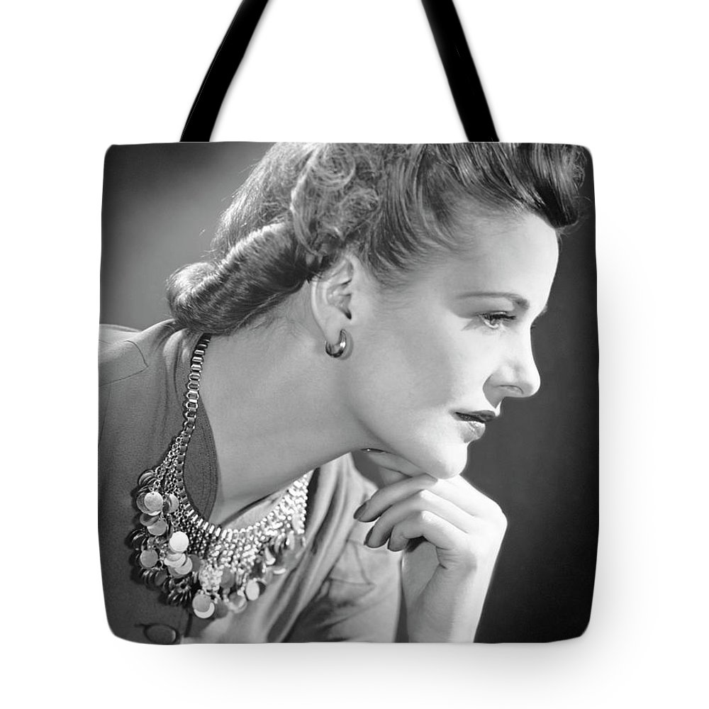 People Tote Bag featuring the photograph Portrait Of A Thinking Woman by George Marks