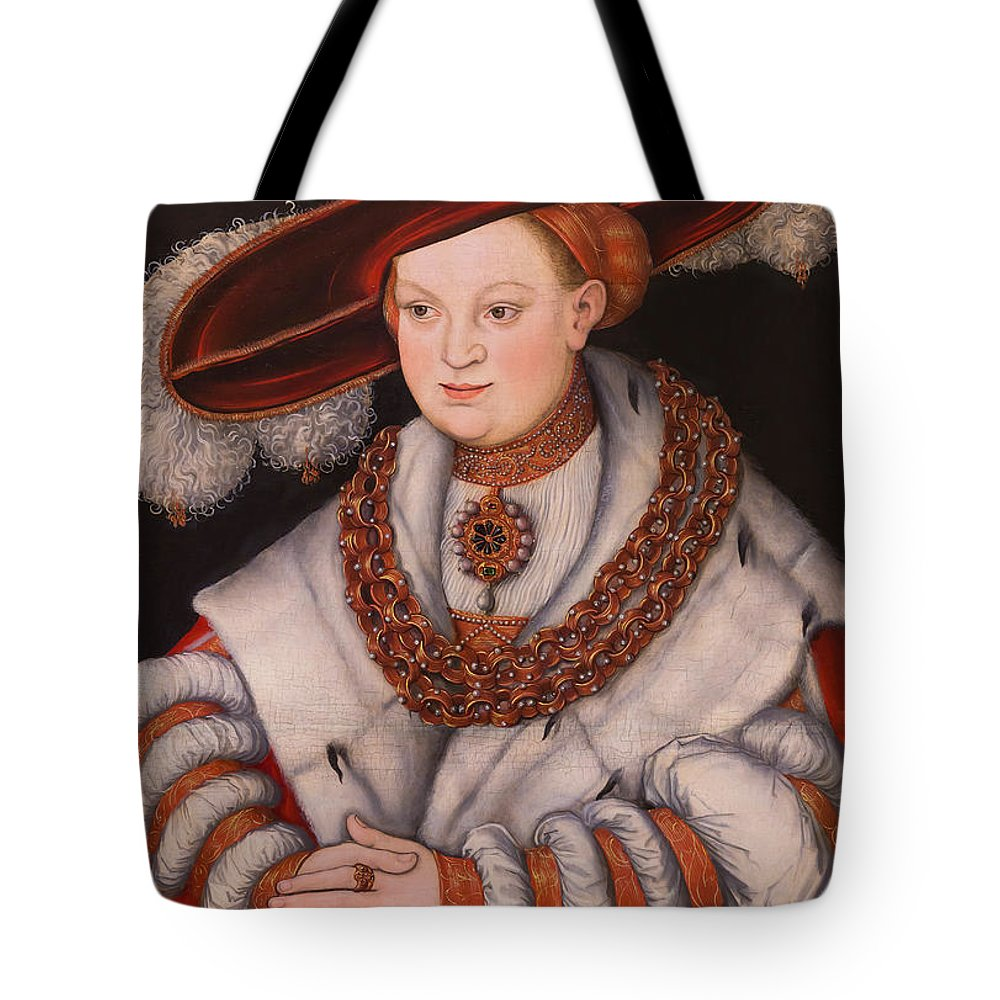 1529 Tote Bag featuring the photograph Portrait Of Magdalena Of Saxony, Wife Of Elector Koachim II by Peter Barritt