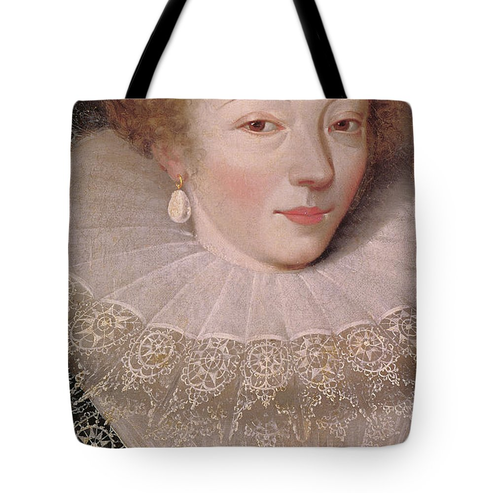 Constable Tote Bag featuring the painting Portrait Of Marie Vignon, Detail by French School