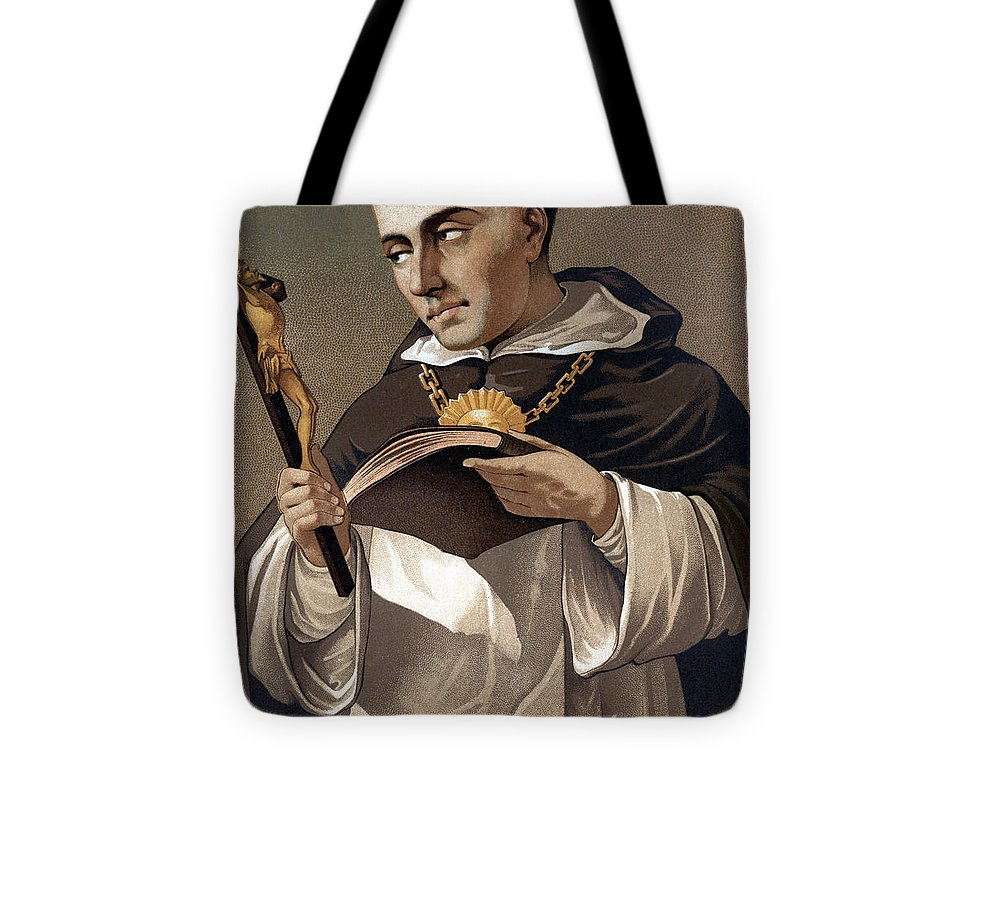 Cross Tote Bag featuring the painting Portrait Of St Thomas Aquinas 1225-1274, Italian Theologian by Italian School