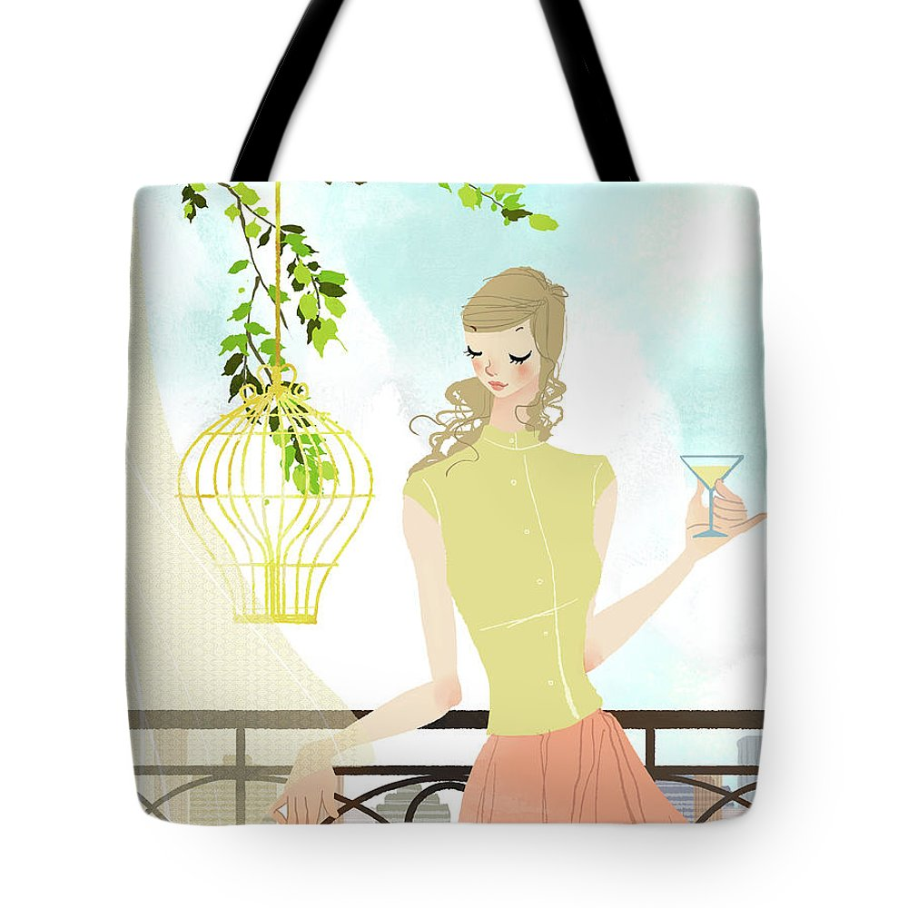 Tranquility Tote Bag featuring the digital art Portrait Of Young Woman Holding by Eastnine Inc.