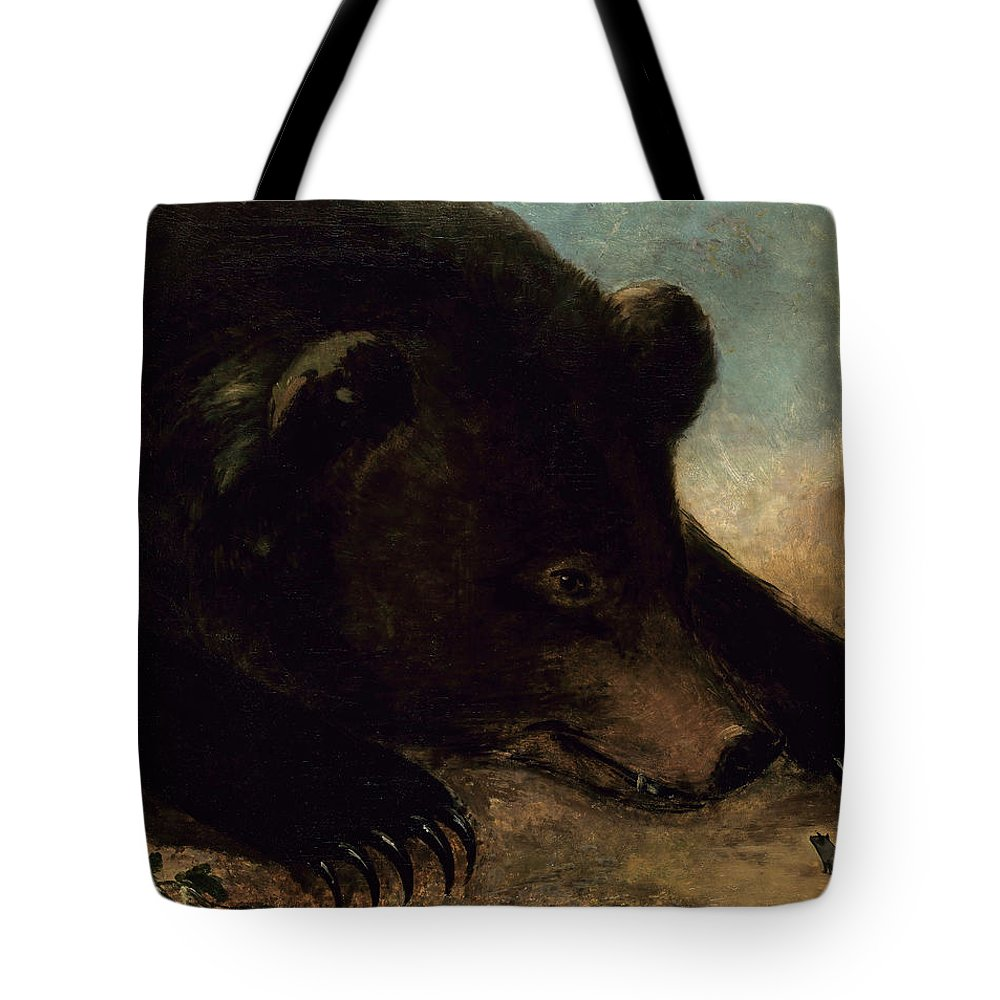 George Catlin Tote Bag featuring the painting Portraits Of A Grizzly Bear And Mouse, Life Size by George Catlin