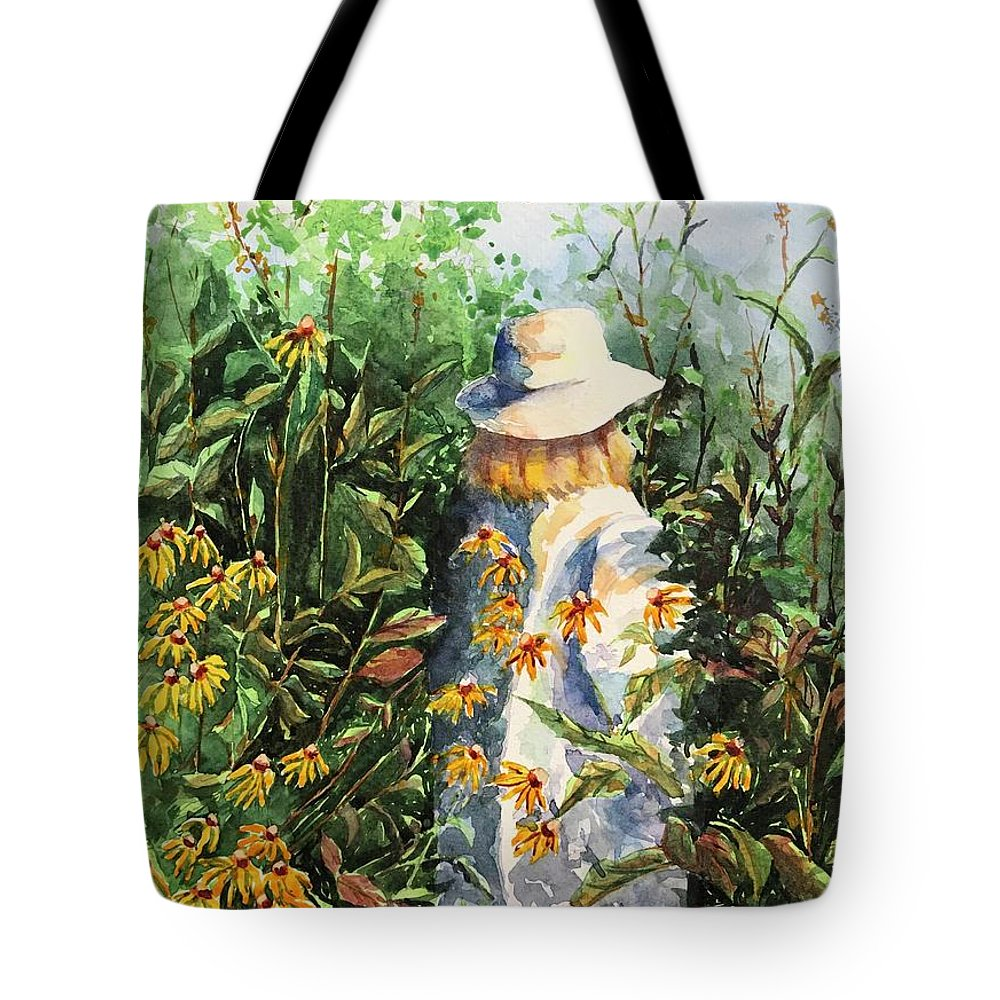Watercolor Tote Bag featuring the painting Prairie Girl by Donna Pierce-Clark