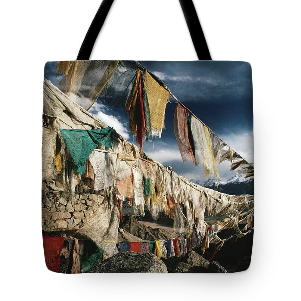 Himalayas Tote Bag featuring the photograph Prayer Flags Above Leh, Ladakh, Leh by Richard I'anson