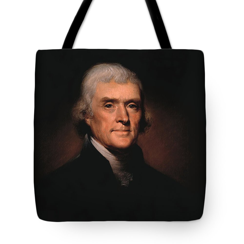 Thomas Jefferson Tote Bag featuring the painting President Thomas Jefferson by War Is Hell Store