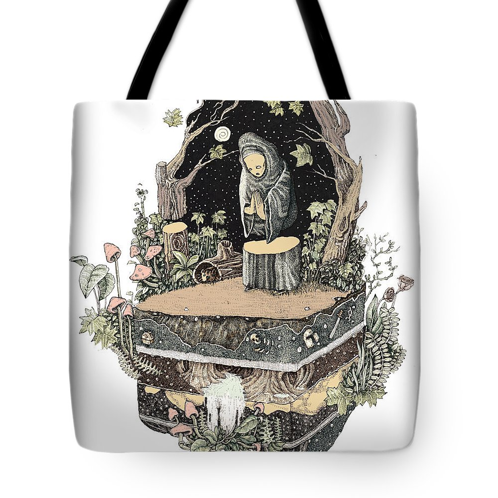 Nature Tote Bag featuring the drawing Priest by Francisco Fonseca