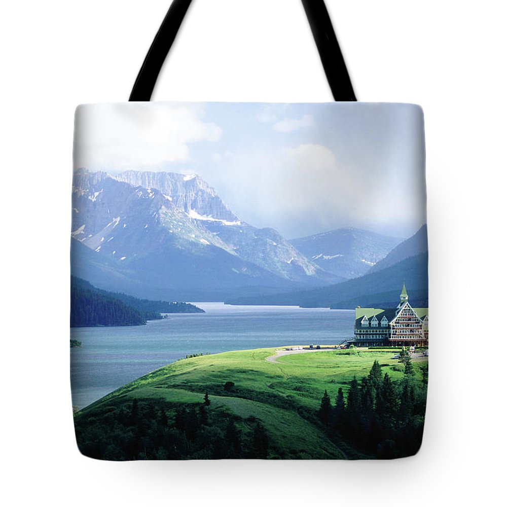 Scenics Tote Bag featuring the photograph Prince Of Wales Hotel, With Waterton by John Elk