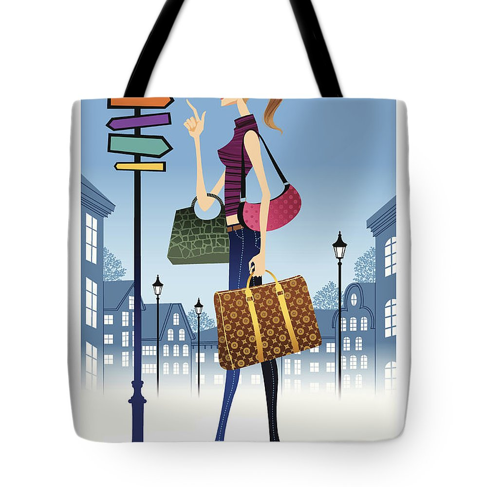 Problems Tote Bag featuring the digital art Profile Of Woman Standing In Front Of by Eastnine Inc.