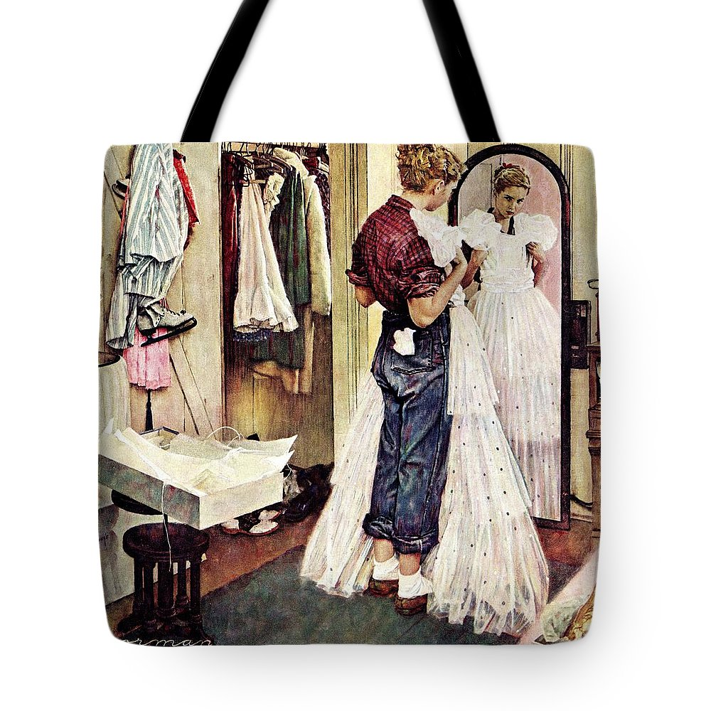 Dresses Tote Bag featuring the drawing Prom Dress by Norman Rockwell