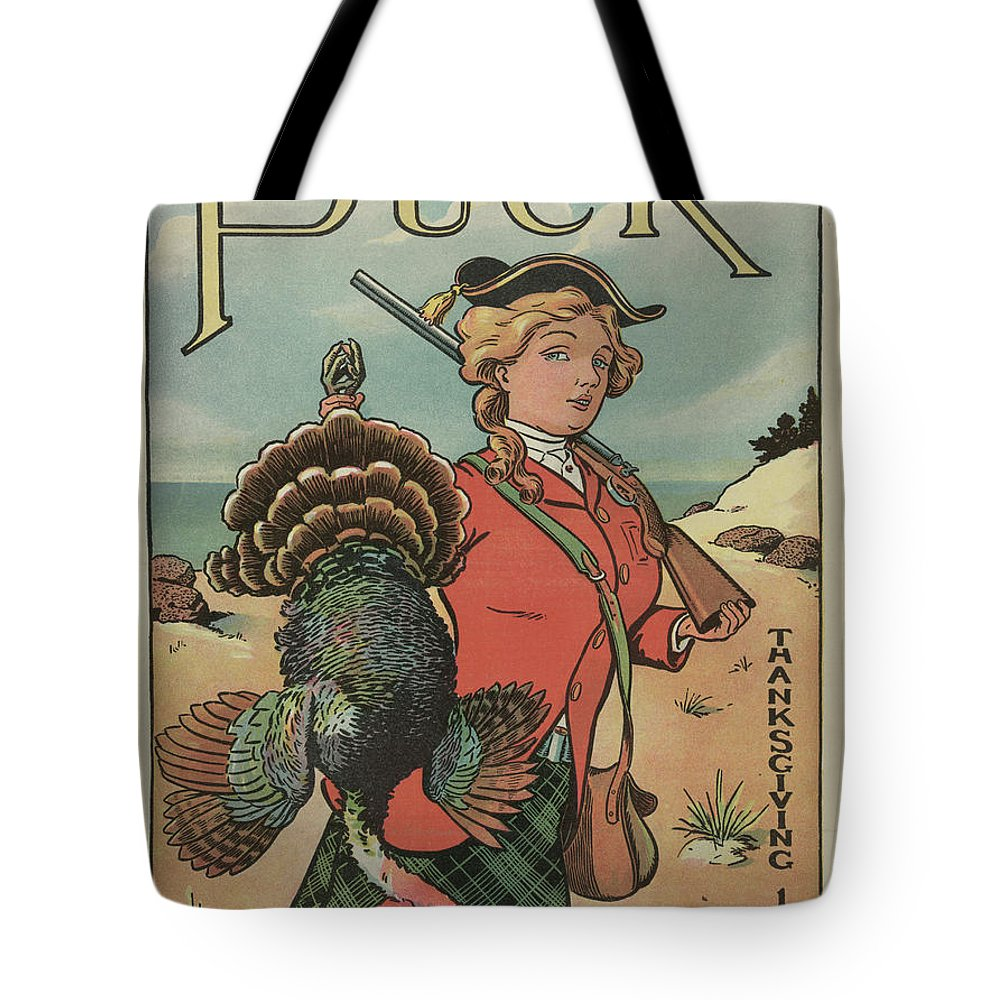 Thanksgiving Tote Bag featuring the painting Puck Thanksgiving, 1904 by Louis Glackens