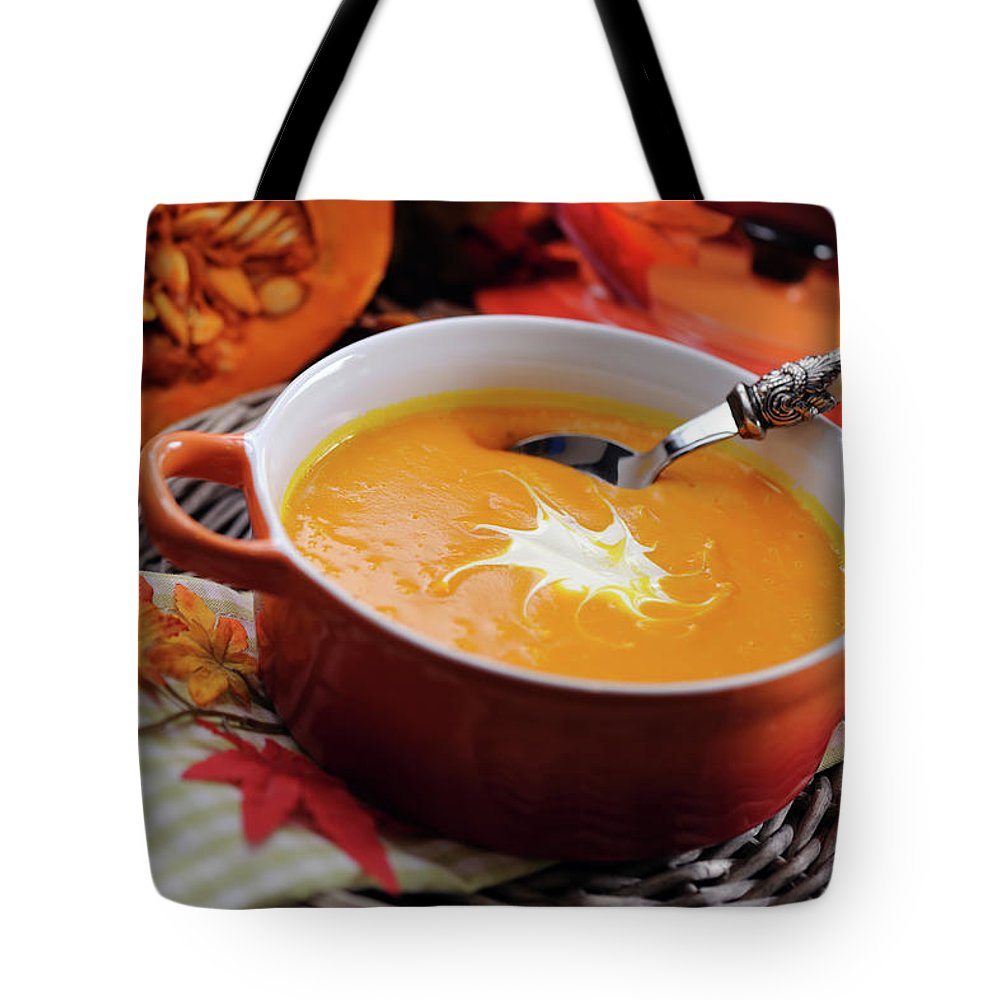 Event Tote Bag featuring the photograph Pumpkin Soup In Skew With Creme Fraiche by Moncherie