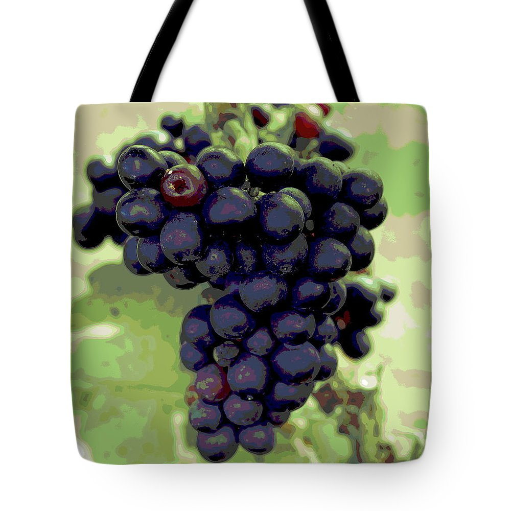 Vineyard Tote Bag featuring the photograph Purple Grape Bunches 19 by Cathy Lindsey