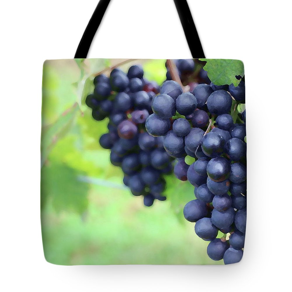 Vineyard Tote Bag featuring the photograph Purple Grape Bunches 21 by Cathy Lindsey