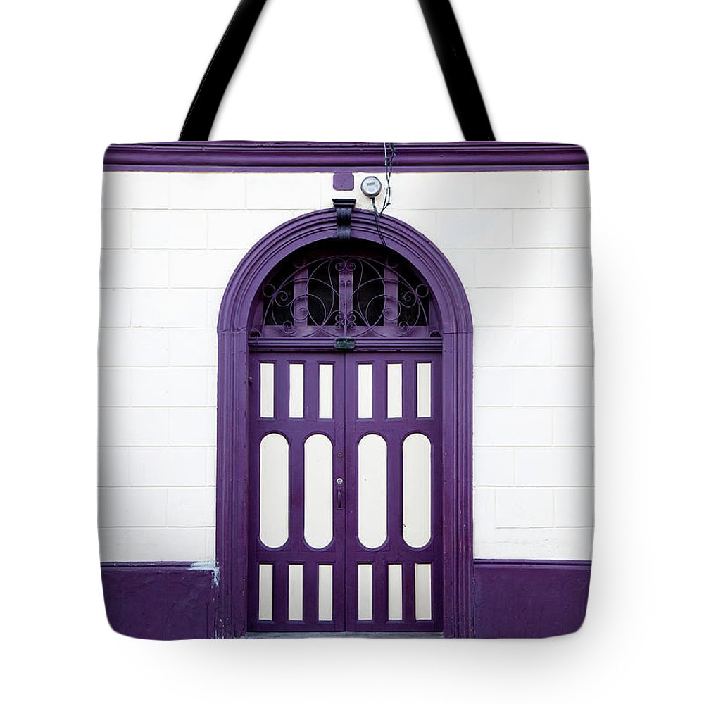 Arch Tote Bag featuring the photograph Purple On White by Anknet