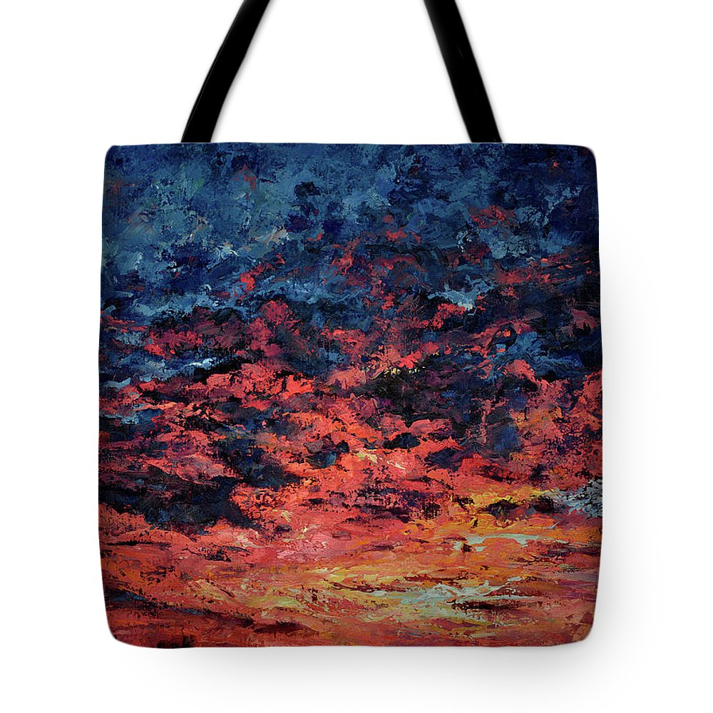 Red Tote Bag featuring the painting Purple Sun by Tetiana Korol