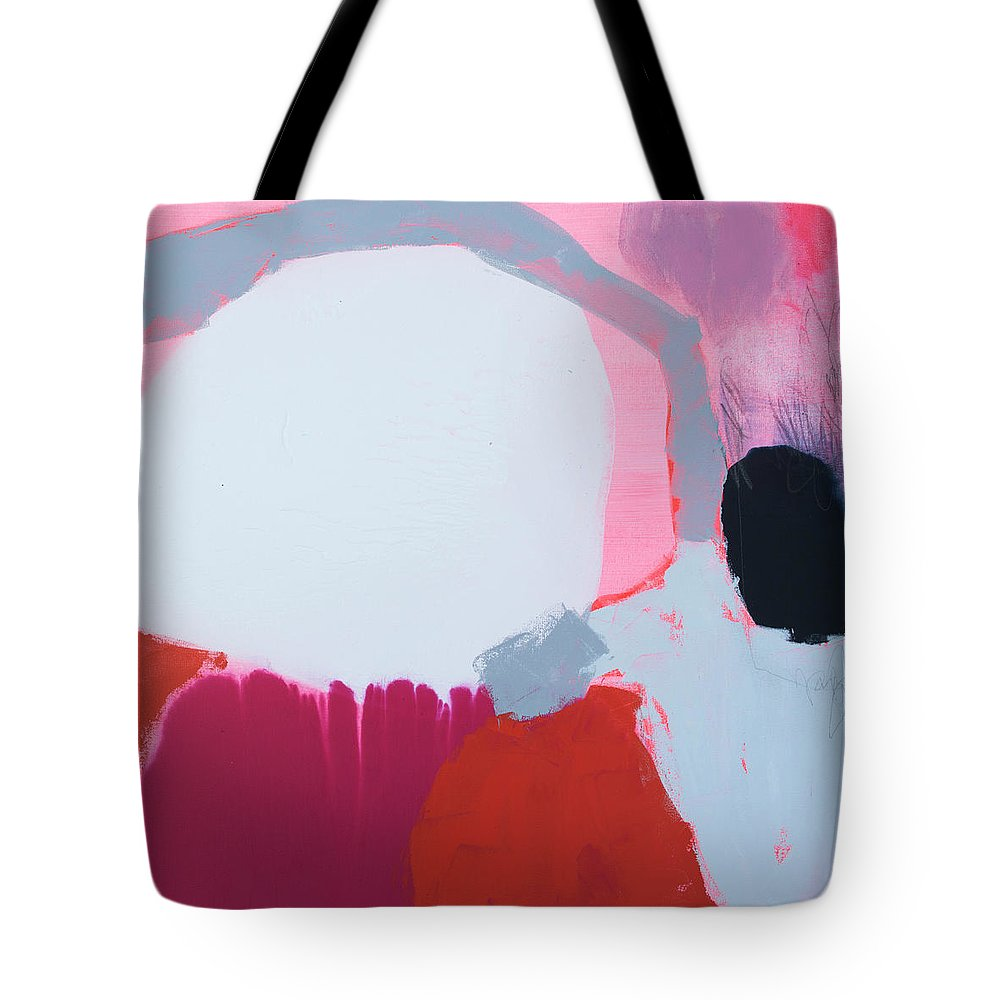 Abstract Tote Bag featuring the painting Pussycats In Pussy Hats by Claire Desjardins