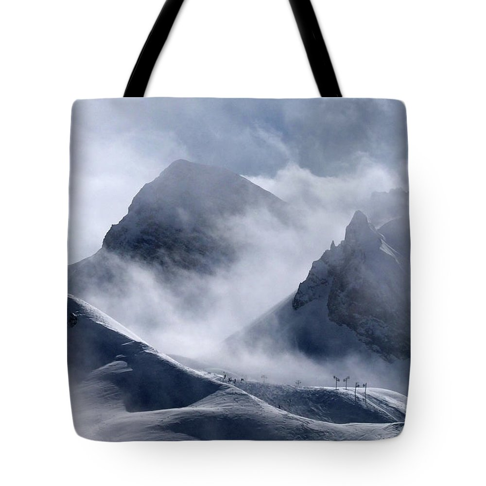 Scenics Tote Bag featuring the photograph Pyramide And Roc Merlet In Courchevel by Niall Corbet @ Www.flickr/photos/niallcorbet