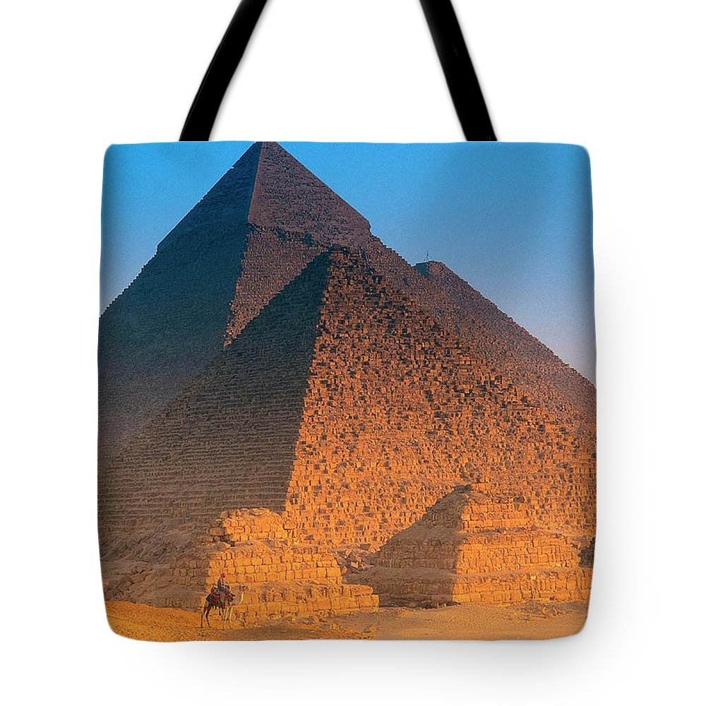 Majestic Tote Bag featuring the photograph Pyramids, Cairo, Egypt by Peter Adams