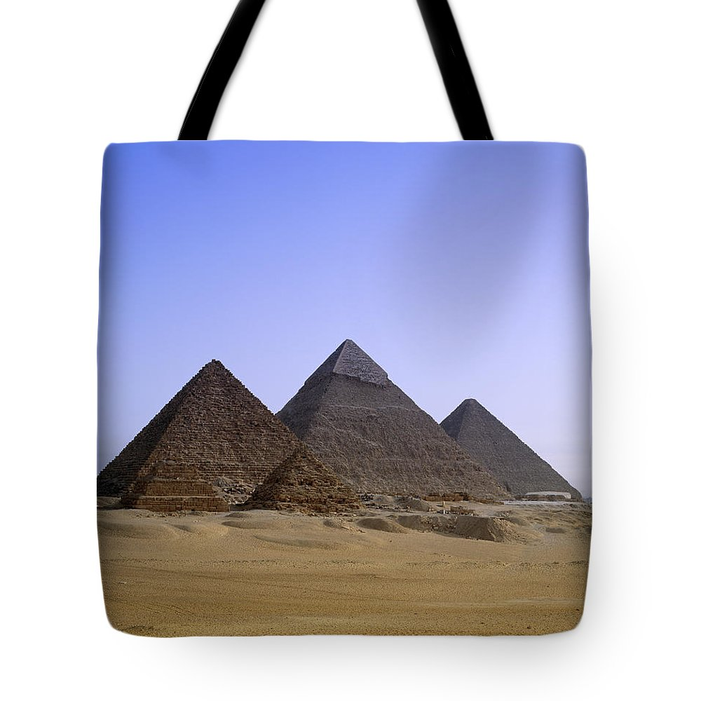 Clear Sky Tote Bag featuring the photograph Pyramids In Desert Landscape, Close Up by Stephen Studd