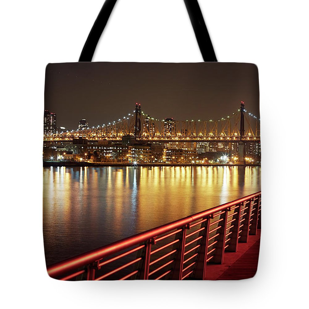 Built Structure Tote Bag featuring the photograph Queensboro Bridge At Night by Allan Baxter