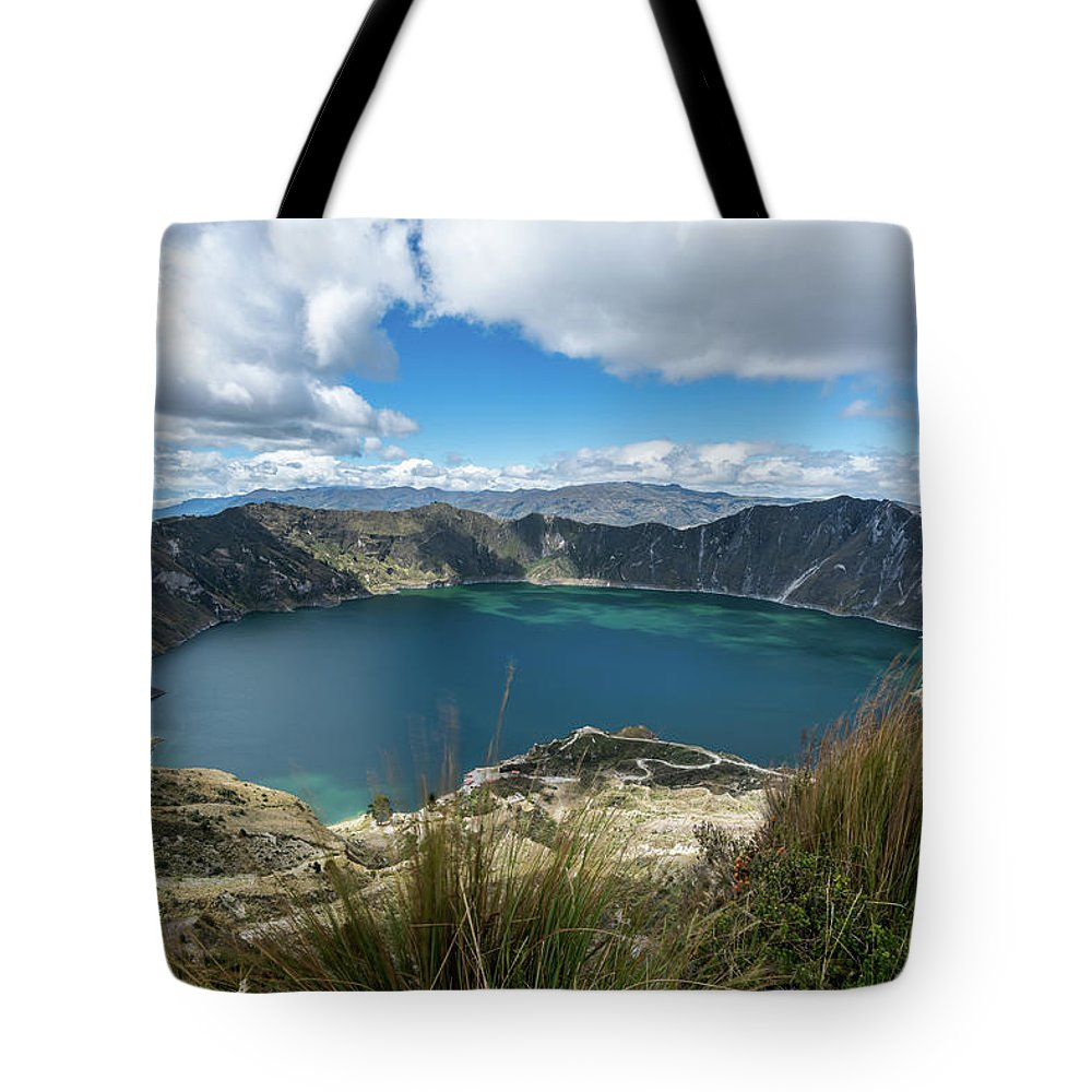 Landscape Tote Bag featuring the photograph Quilotoa Crater Lake by Kaitlyn Casso