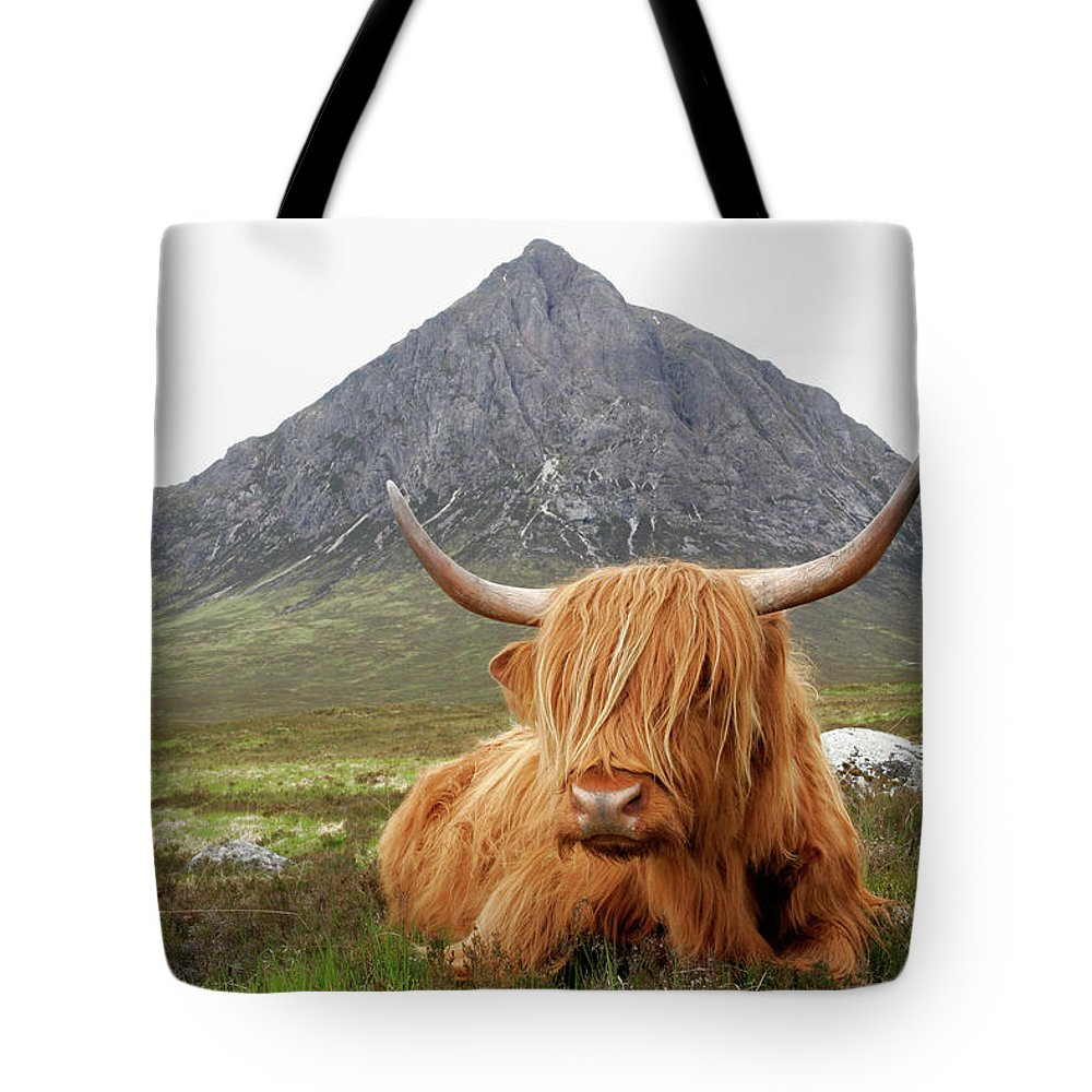 Horned Tote Bag featuring the photograph Quintessential Scotland by Thedman