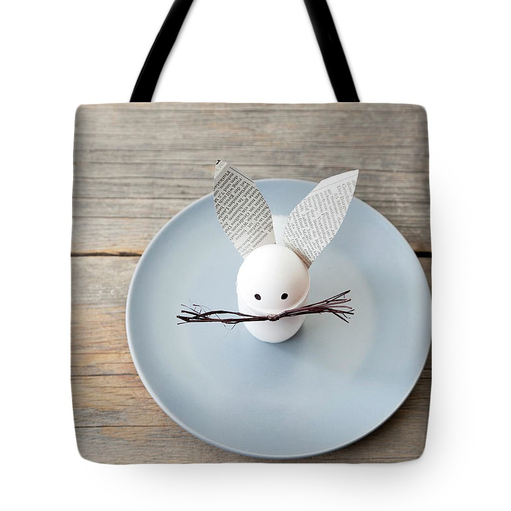 Holiday Tote Bag featuring the photograph Rabbit Decoration On Plate by Stefanie Grewel