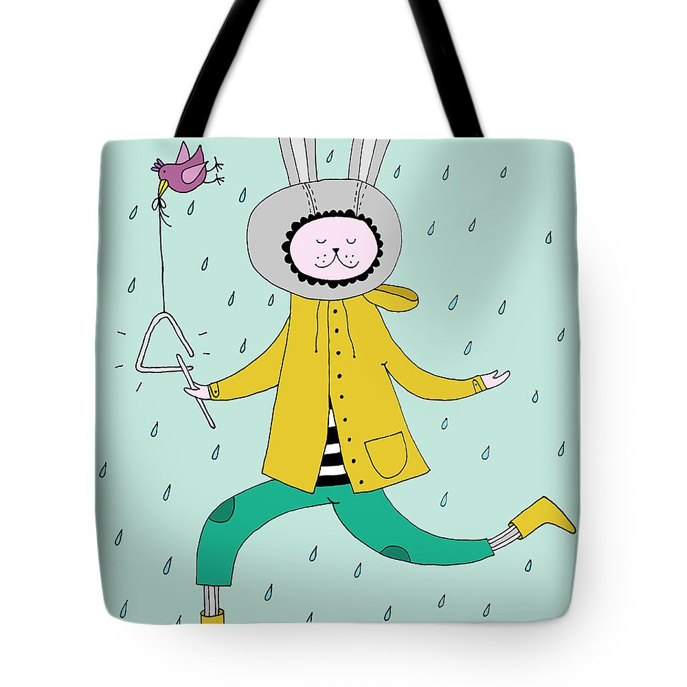 Animal Themes Tote Bag featuring the digital art Rabbit In Rain by Kristina Timmer