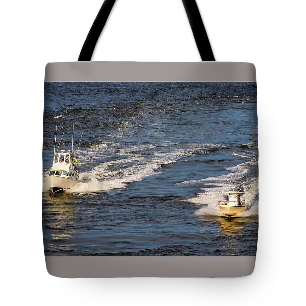 Boats Tote Bag featuring the photograph Racing To The Harbor by David Kay