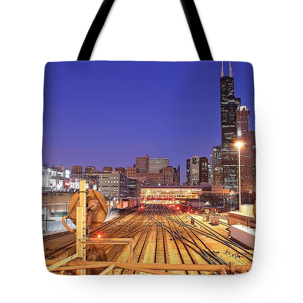 Railroad Track Tote Bag featuring the photograph Rail Tracks by Joseph Balynas