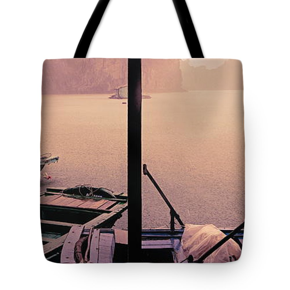 Vietnam Tote Bag featuring the photograph Rain Storm Ha Long Bay Boat People Homes by Chuck Kuhn