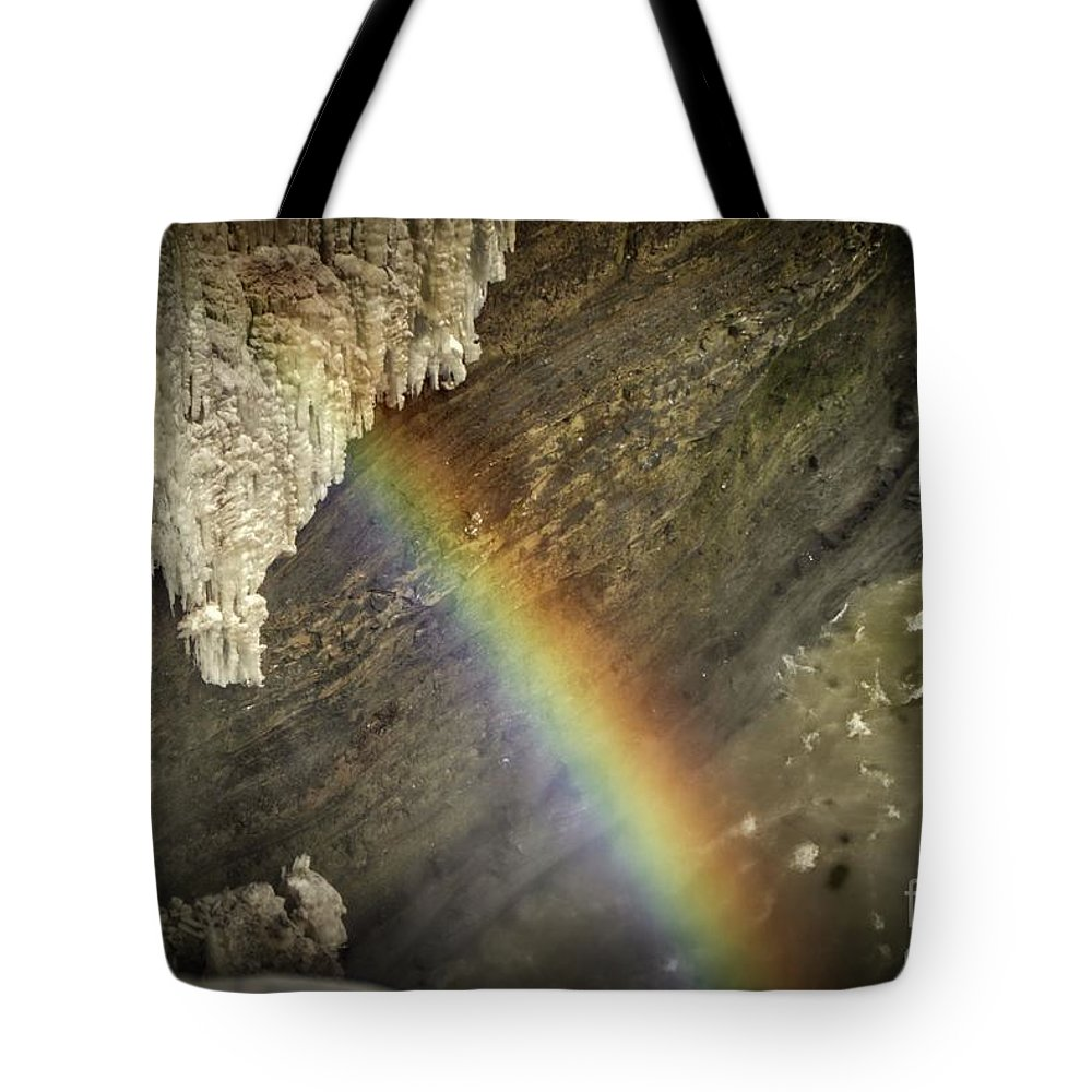 #letchworthstatepark #iloveny #exploring #thegreatoutdoors #waterfalls #waterfall #nature #photography #photographer #instagram #picoftheday #imageoftheday #photo #hdr #highdynamicrange #skylum #aurorahdr2019 #water #rainbow #nature #naturephotography #naturephotographer #winter #ice #cold #snow Tote Bag featuring the photograph Rainbow At Letchworth by Jim Lepard