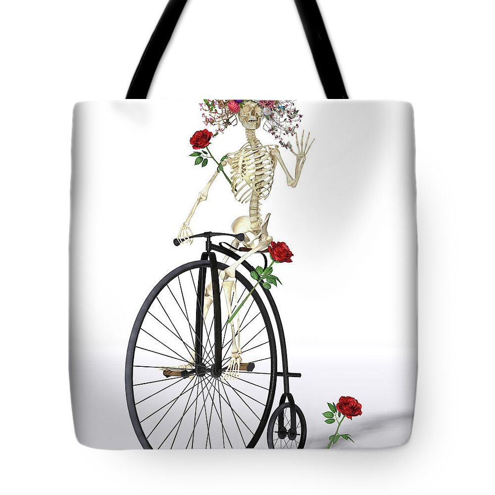 Skeleton Tote Bag featuring the digital art Rambling Rosy by Betsy Knapp