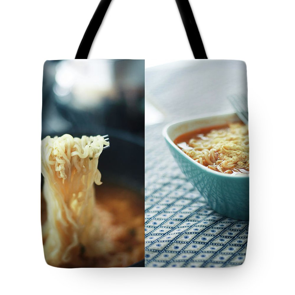Kitchen Tote Bag featuring the photograph Ramen Noodles Diptych by Alice Gao Photography