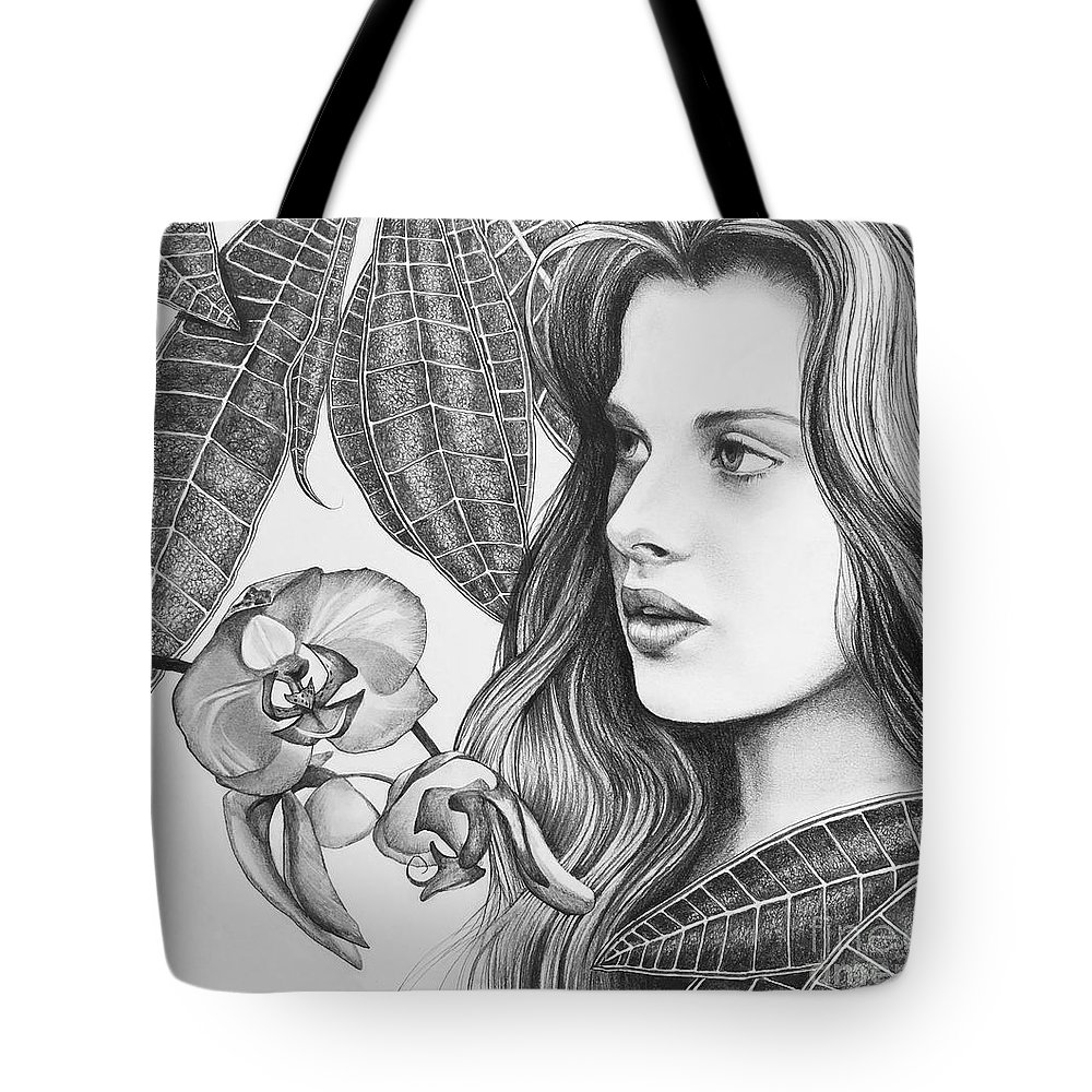 Rappacini's Daughter Tote Bag featuring the drawing Rappacini's Daughter by Hunter Jay