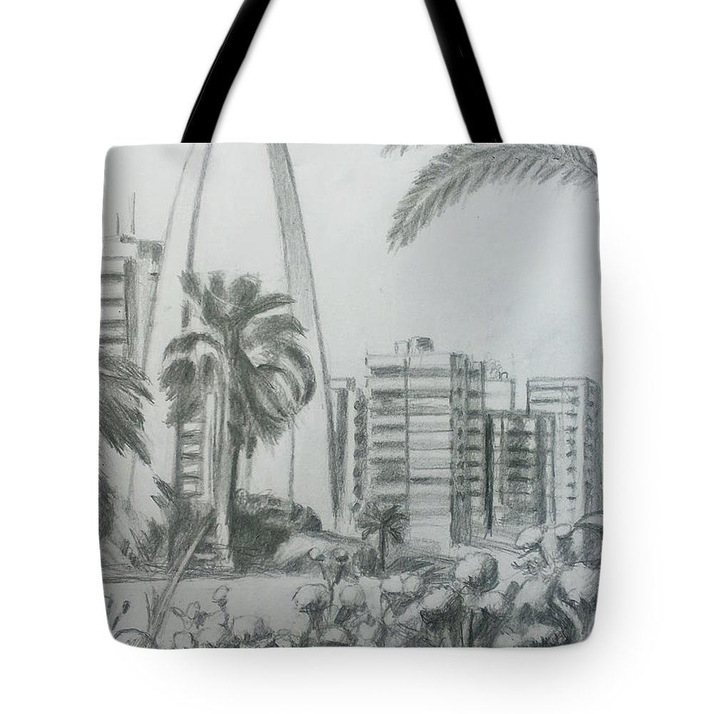 Exhibition Tote Bag featuring the drawing Rashid Karami International Exhibition - Tripoli by Mohammad Hayssam Kattaa