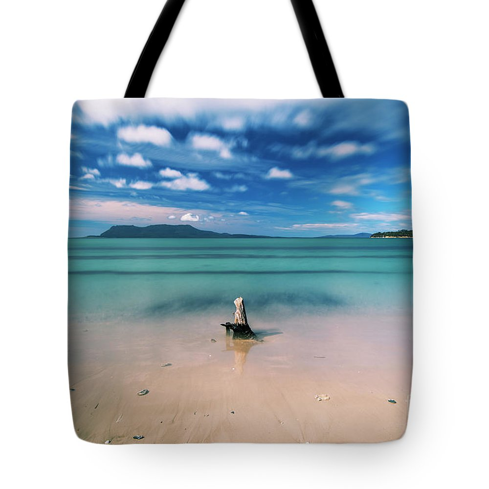 Raspins-beach Tote Bag featuring the photograph Raspins Beach In Orford On The East Coast Of Tasmania. by Rob D
