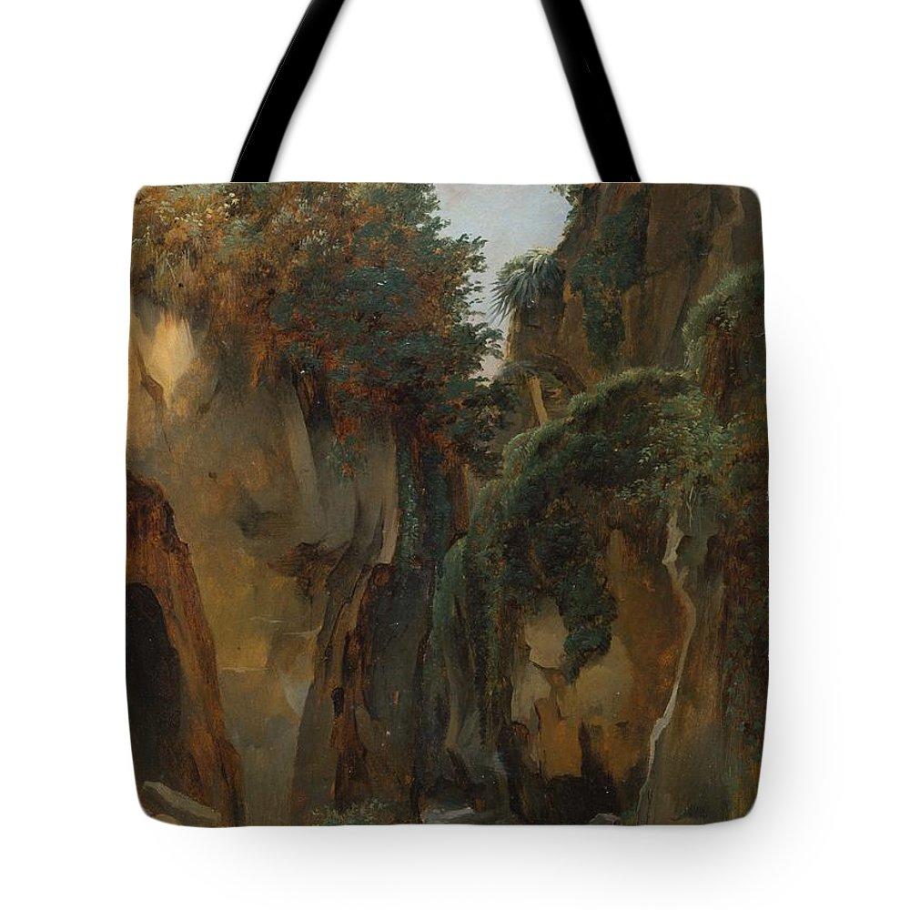 Edouard Bertin Tote Bag featuring the painting Ravine At Sorrento by Edouard Bertin
