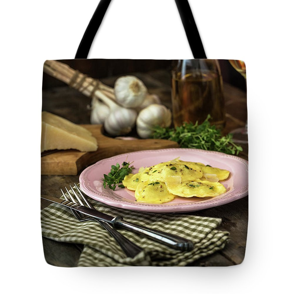 Stuffed Tote Bag featuring the photograph Ravioli Pasta by Gmvozd