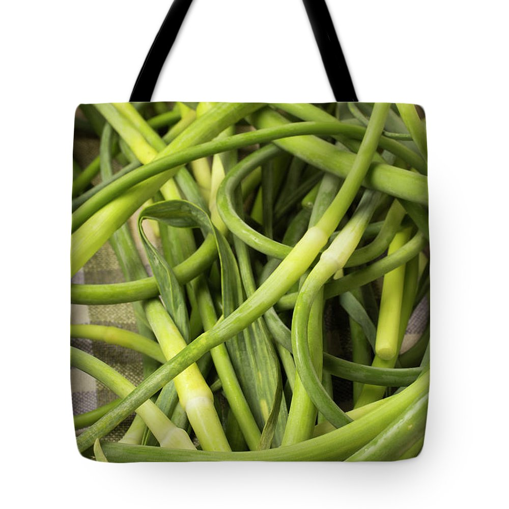 Season Tote Bag featuring the photograph Raw Garlic Scapes by Brian Yarvin