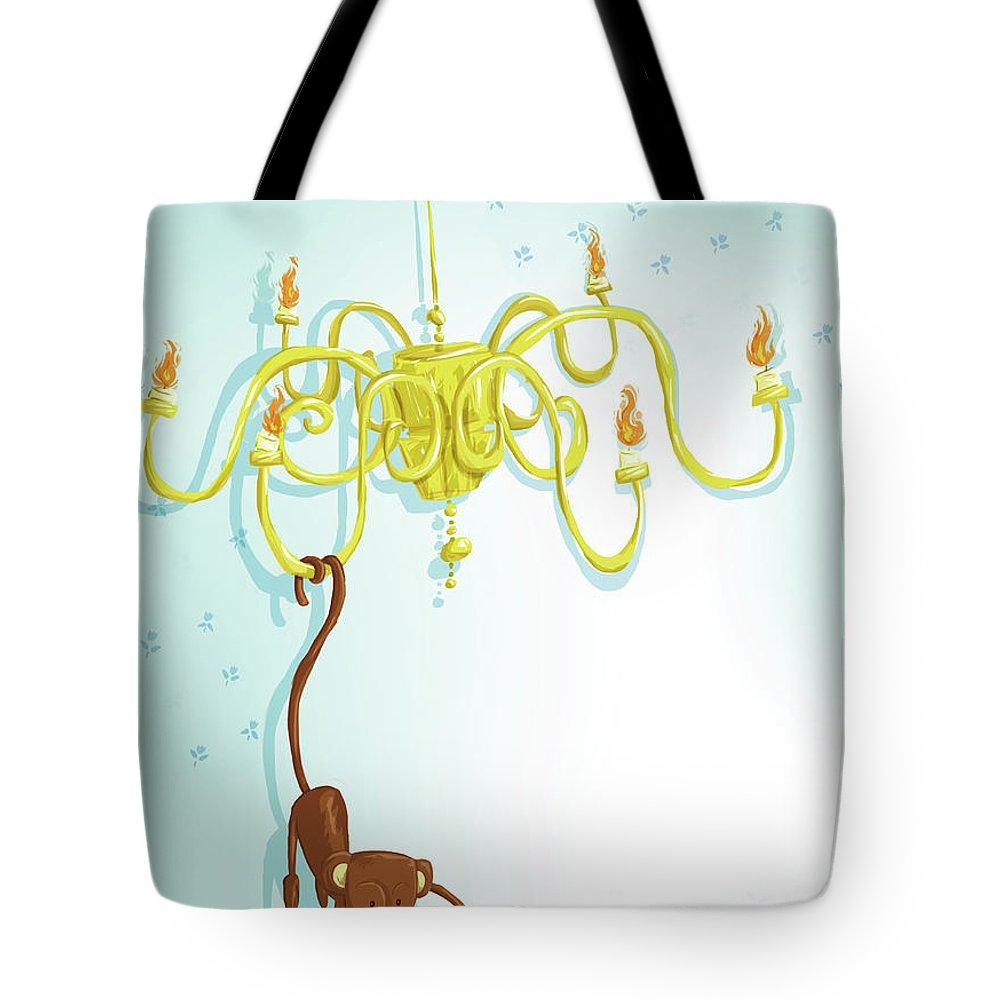 Hanging Tote Bag featuring the digital art Reading Monkey by Gabrieletafuni-illustrator