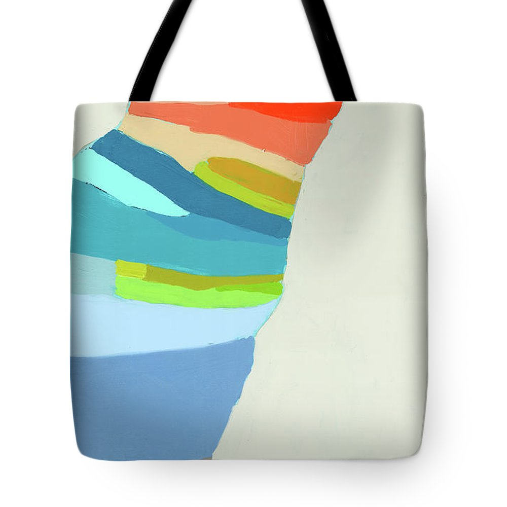 Abstract Tote Bag featuring the painting Ready To Make A Splash by Claire Desjardins
