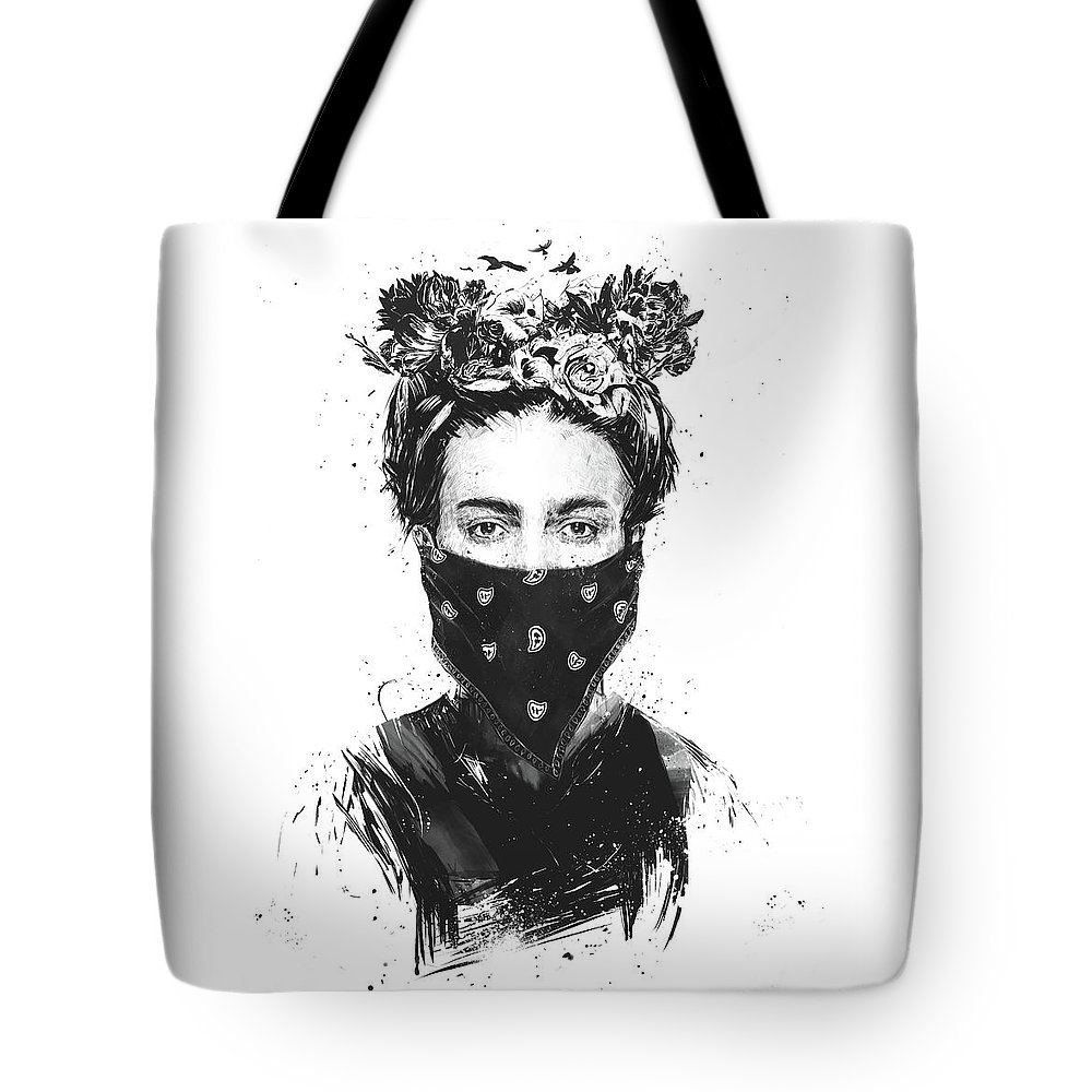 Girl Tote Bag featuring the drawing Rebel girl by Balazs Solti