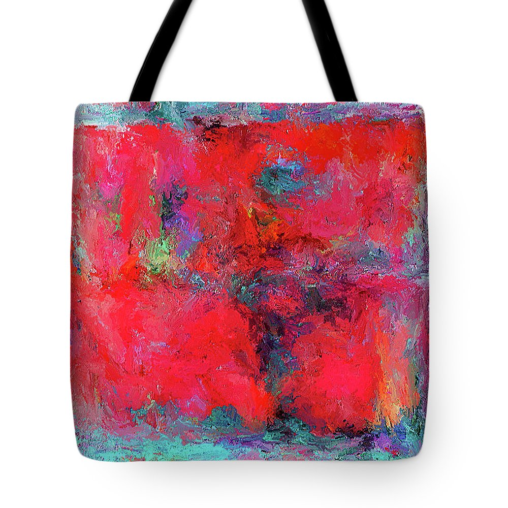 Tote Bag featuring the painting Rectangular Red by Rein Nomm